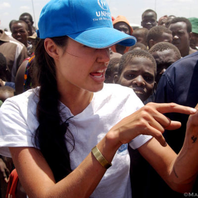 Angelina Jolie, UNHCR Goodwill Ambassador, talks to refugees at Kakuma refugee camp in Northern Kenya.